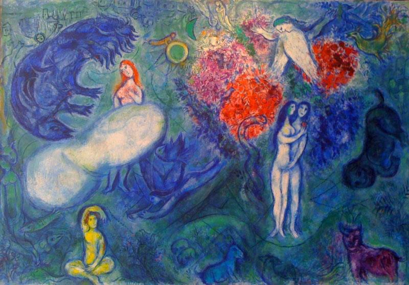 Marc Chagall, Adam et Eve chassés du paradis, 1961, Huile ... Chagall Museum Nice