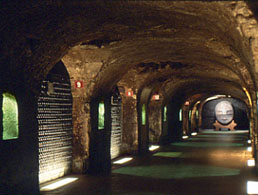The Champagne cellars extend for miles underground