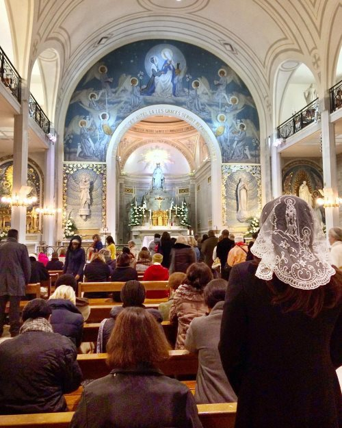 A mass at the Chapel of miraculous medal