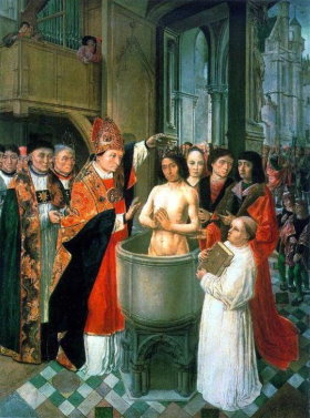 The baptism of King Clovis in Rheims in 496