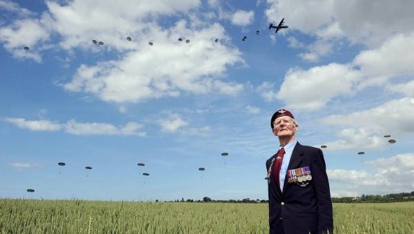 Paratrooper drop during D-Day commemoration