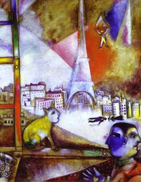 Eiffel Tower painted by Marc Chagall