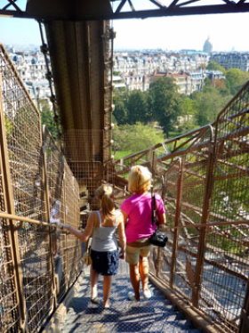 Walking down the stairs of the Eiffel Tower
