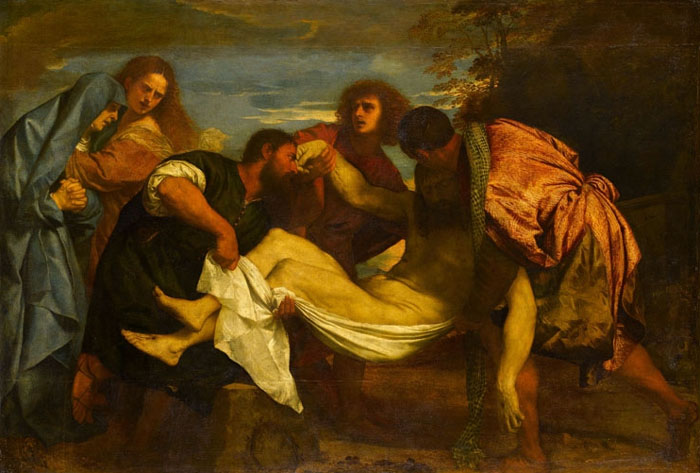 The entombment of Christ by Titien from Italy, Louvre Museum