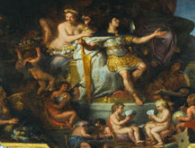 The painting of the ceiling glorify the Sun King