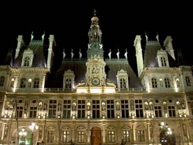 Paris City Hall at night