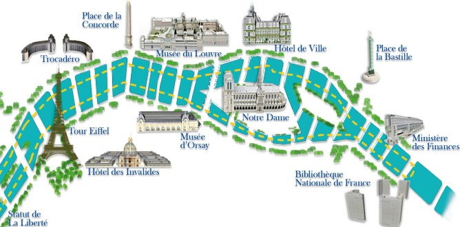 Map Paris and Seine river - Longchamp