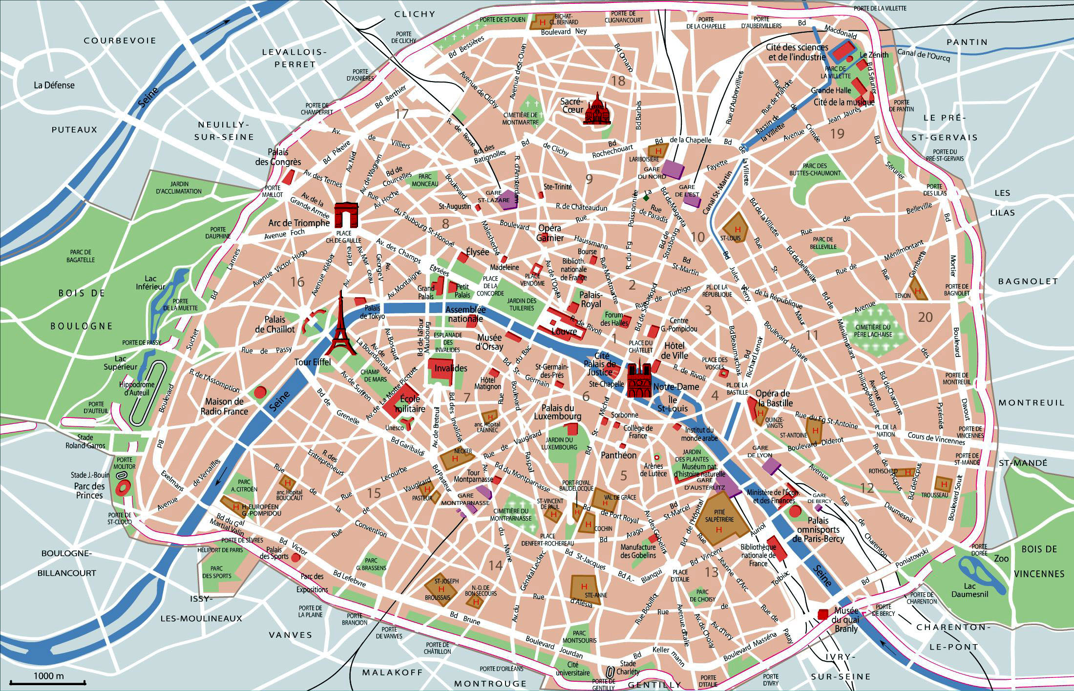 Paris map with top sights, shops, hotels. Paris map pdf.