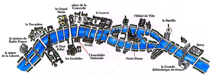Map of Seine River in Paris