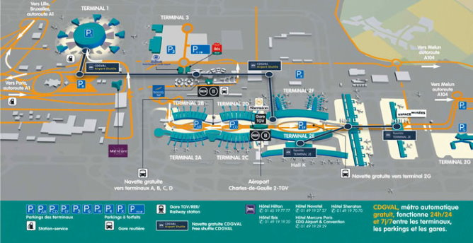 Charles de Gaulle Airport terminal map