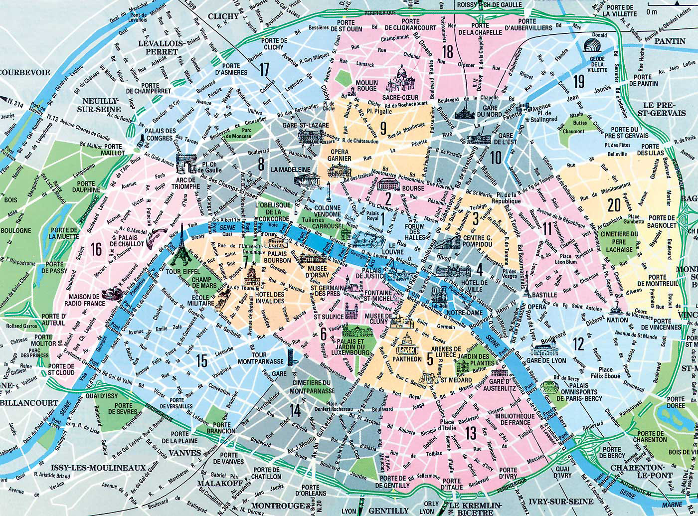 Paris Arrondissement Map Map of Paris Arrondissements. Top arrondissement sights. Paris Arrondissement Map