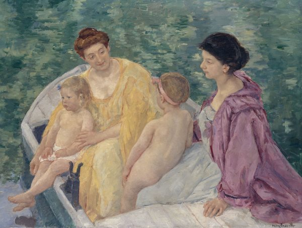 Two mothers and her children in a boat