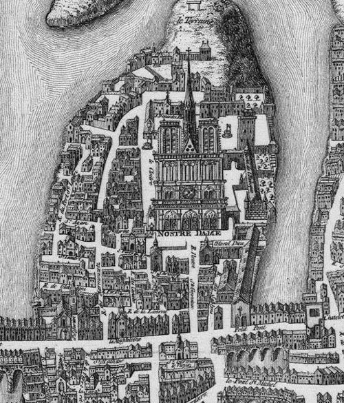 Notre Dame on 1550 Paris map