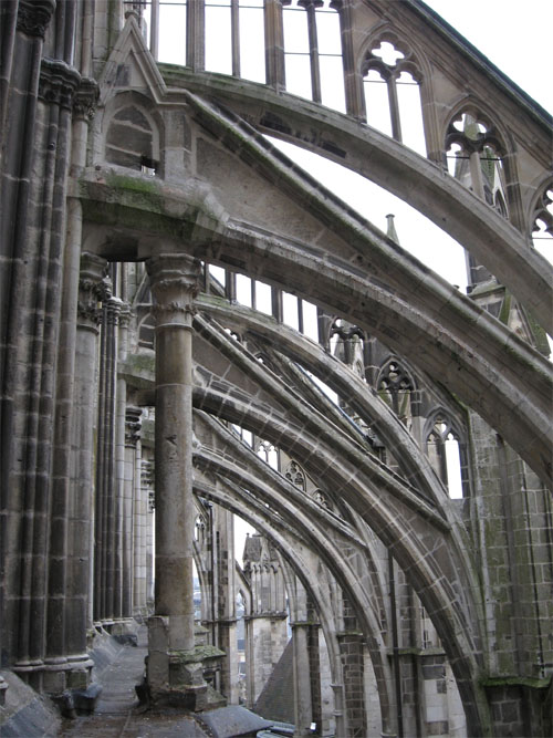 Notre-Dame is supported by flying buttresses