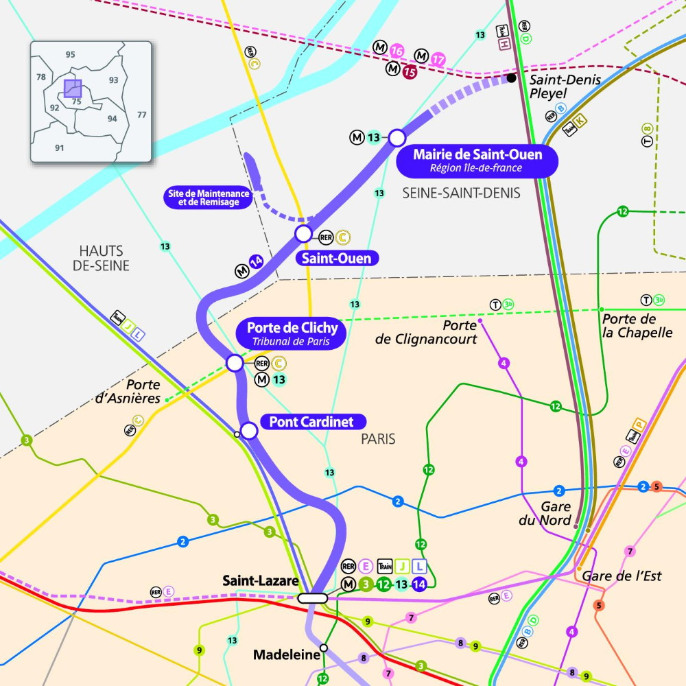 The extension of metro line 14 to Saint-Ouen