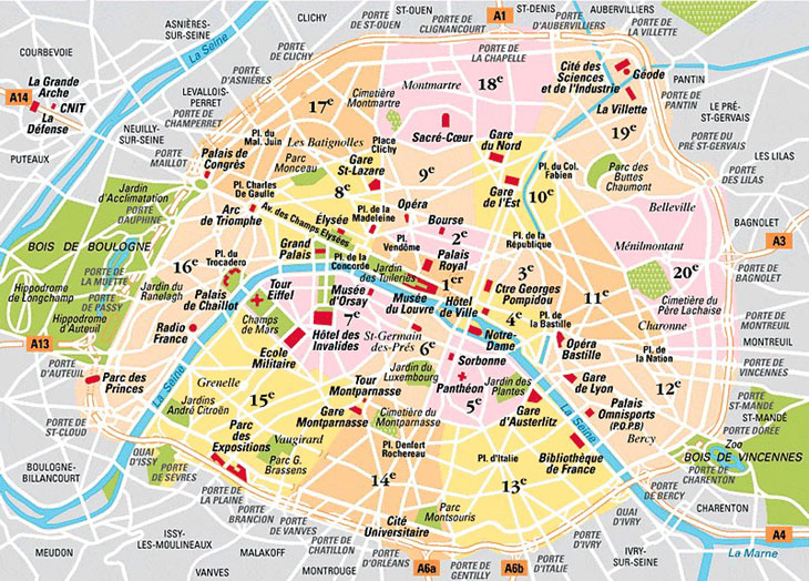 Map of Paris Arrondissements Top arrondissement sights