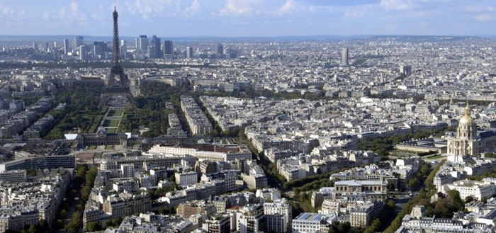 dining with eiffel tower view. paris view from tour montparnasse dining with eiffel tower