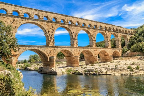 The famous Roman Pont du Gard in Provence