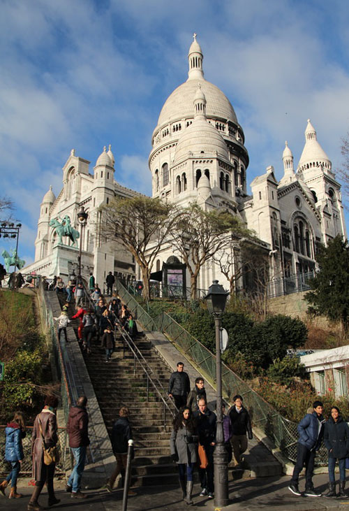 Sacre Coeur from Place du Tertre in Montmartre
