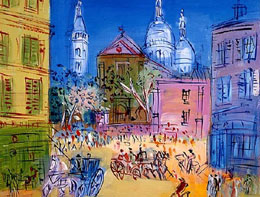 Sacre Coeur from Place du Tertre by Jean Dufy