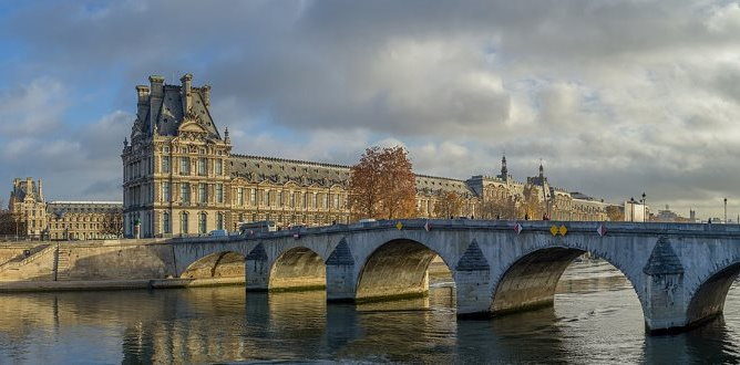 Seine River and Louvre Museum in Paris