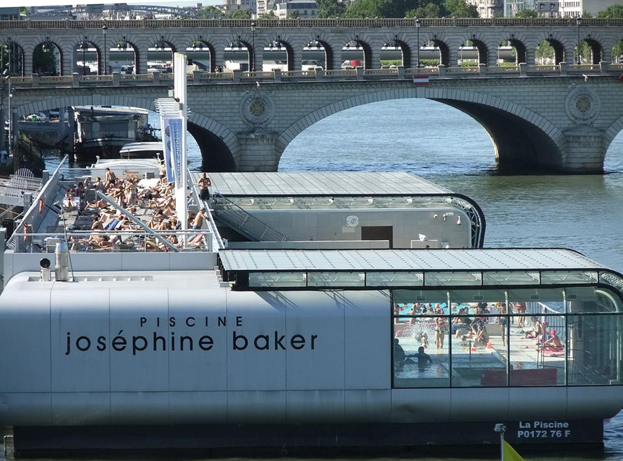 Map of seine river in paris for Josephine baker swimming pool paris