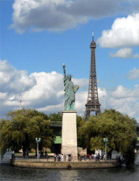 The Statue of Liberty on the Seine River