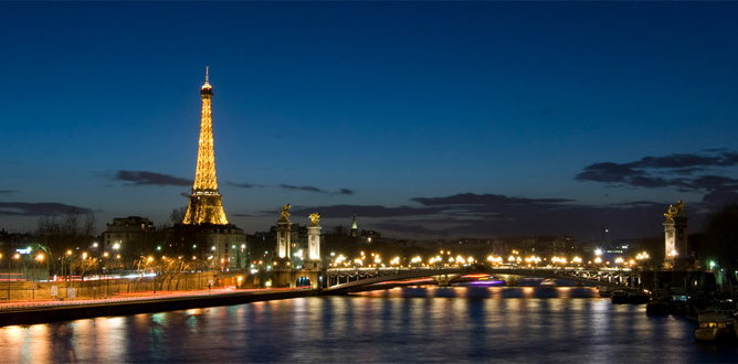 Eiffel Tower on the Seine River banks