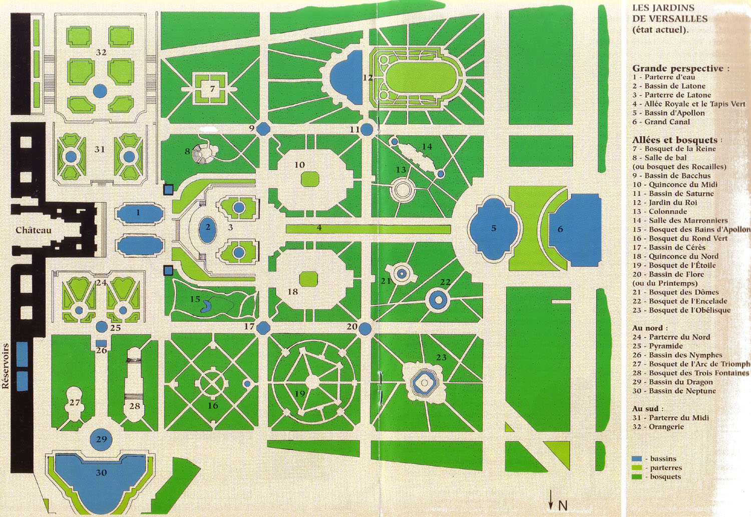 Map of the palace of versailles map of versailles gardens for Plan de jardin